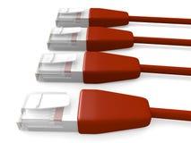 2 czerwone kable sieci Obrazy Royalty Free