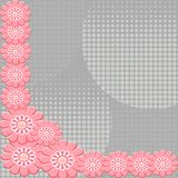2-D Pink flowers on interesting gray background Stock Image