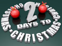 2 Days to Christmas. The words 2 Days to Christmas on a shiny green background with two red ornaments stock illustration