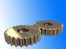 2 denti dorati con il percorso di residuo della potatura meccanica Immagine Stock