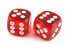 2 Dice. Close up Five and Six Stock Image
