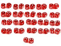 2 Dice - All combinations. 2 Dice close up - showing all 21 Combinations (Low poly count Stock Image