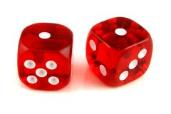 2 dice showing 1 and 1 Royalty Free Stock Photography