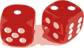 2 dice showing 1 and 2 Stock Photos