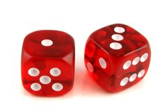 2 dice showing 1 and 3 Stock Photo