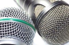 2 distinctive microphones - netting grills Stock Photo