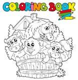 2 djur book den gulliga färgläggningen Arkivfoto