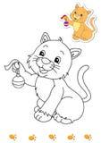 2 djur book kattfärgläggning stock illustrationer