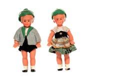 2 Doll met traditionele Europese kleding Stock Foto's