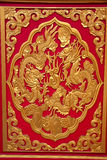 2 dragones en textura roja, Tailandia Fotos de archivo libres de regalías