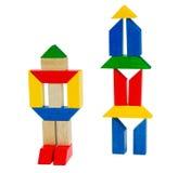 2 drewniany robota zabawkarskiego Fotografia Royalty Free