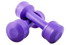 2 dumbbells each kilogram purpury dwa Zdjęcie Royalty Free
