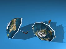 2 Earth umbrella Royalty Free Stock Image