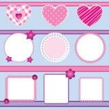 2 element pink scrapbookseten Royaltyfri Bild