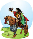 2 elfes riding on horse. Illustration for fantasy fairy tale: 2 elfes riding on horse Stock Photos
