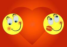 2 enamoured smiles. On background big heart Royalty Free Stock Image