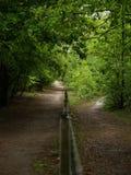 2 estradas separadas por uma cerca Fotografia de Stock Royalty Free