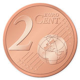 2 euro cent. Isolated on a white background. Vector illustration Royalty Free Stock Image