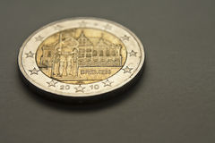 2 euro coin. 2 Euro  commemorative coin with The Town Hall of Bremen issued in 2010 Stock Photo