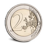 2 Euro Coin in front of white background Royalty Free Stock Photo