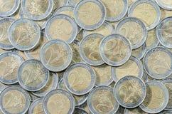 2-EURO coins bakgrund Royaltyfri Fotografi