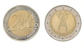 2 euro - dinero de unión europea Fotos de archivo libres de regalías