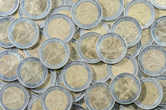 2-EURO inventa o fundo Fotografia de Stock Royalty Free