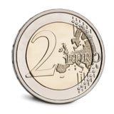 2 euro Muntstuk voor witte achtergrond Royalty-vrije Stock Foto