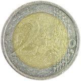 2 euro op witte achtergrond Stock Foto's