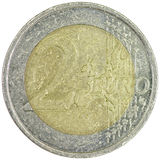 2 Euro on white background. Macro photo of a Dutch 2 Euro coin Stock Photos