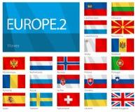 2 europeiska flaggor för länder part våg Royaltyfria Bilder