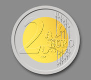 2 Euros Coin. In shape, with grey background Stock Illustration