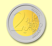 2 Euros Coin. In shape, with yellow background Vector Illustration