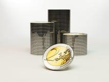 2 Euros coins. Stacks of 2 Euros coins in gold and silver Royalty Free Stock Photos