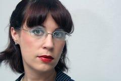 2 eyeglasses κορίτσι headshot pinup αναδρομικό Στοκ Εικόνες