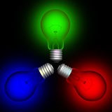2 färglightbulbs Arkivfoto