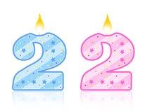 2 födelsedag stearinljus stock illustrationer
