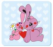 2 förälskelsekaniner vektor illustrationer