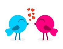 2 falling in love birds. Vector illustration royalty free illustration