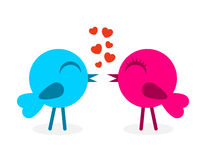 2 falling in love birds. Vector illustration Stock Photos