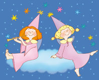 2 fei. Two  little fairies on  the cloud Stock Images