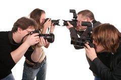 2 fem fotografer Arkivfoton