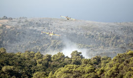 2 Firefighter planes flying over carmel park Royalty Free Stock Image