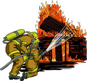 2 Firefighters in action. Illustration of 2 Firefighters in action Royalty Free Stock Photo