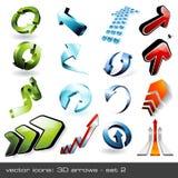 2 flèches 3d réglées Images libres de droits