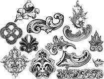 2 floralsscrolls ställde in vektorn vektor illustrationer
