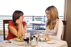 2 friends having lunch Stock Photos
