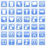 2 fyrkantiga etiketter för blåa symboler Royaltyfria Foton