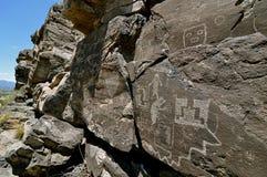 2 galisteo墨西哥新的刻在岩石上的文字 免版税库存照片