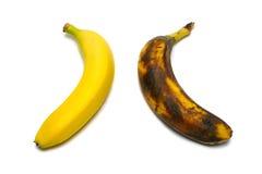 2 geïsoleerdeo bananen Royalty-vrije Stock Foto's